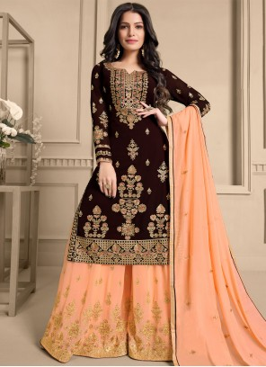 Brown and Peach Embroidered Faux Georgette Designer Pakistani Suit