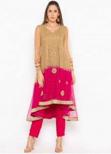 Brown and Pink Embroidered Net Party Wear Kurti