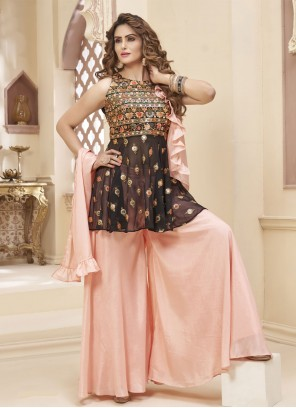 Brown and Pink Mehndi Georgette Readymade Suit