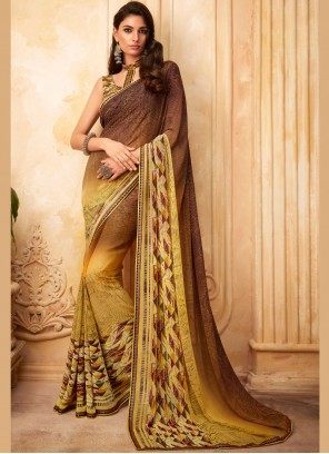 Brown and Yellow Color Designer Saree