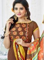 Brown and Yellow Digital Print Work Cotton   Churidar Suit