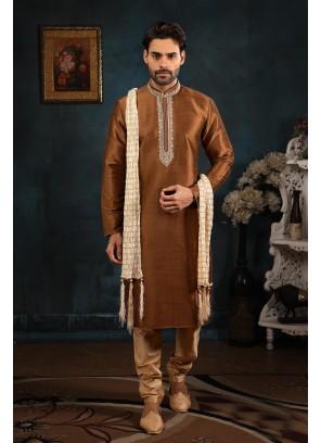 Brown Art Banarasi Silk Kurta Pyjama
