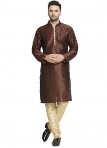 Brown Art Dupion Silk Plain Kurta Pyjama