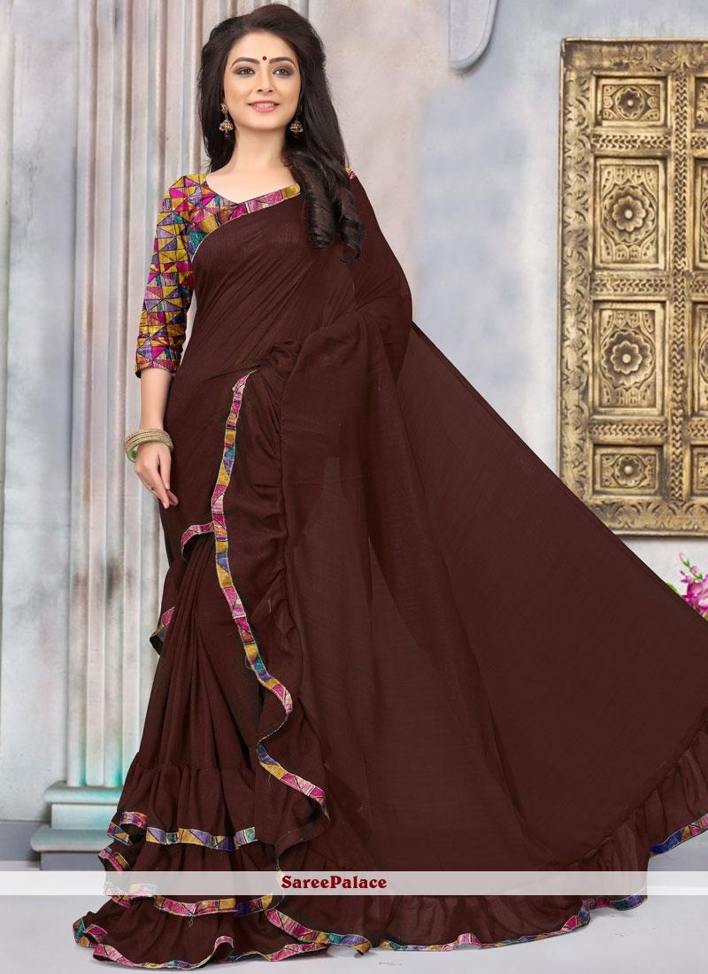 ec1fb4cf37 Buy Brown Art Silk Casual Ruffle Sarees Online - 103844
