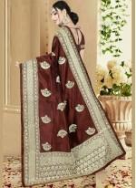 Brown Art Silk Ceremonial Designer Saree