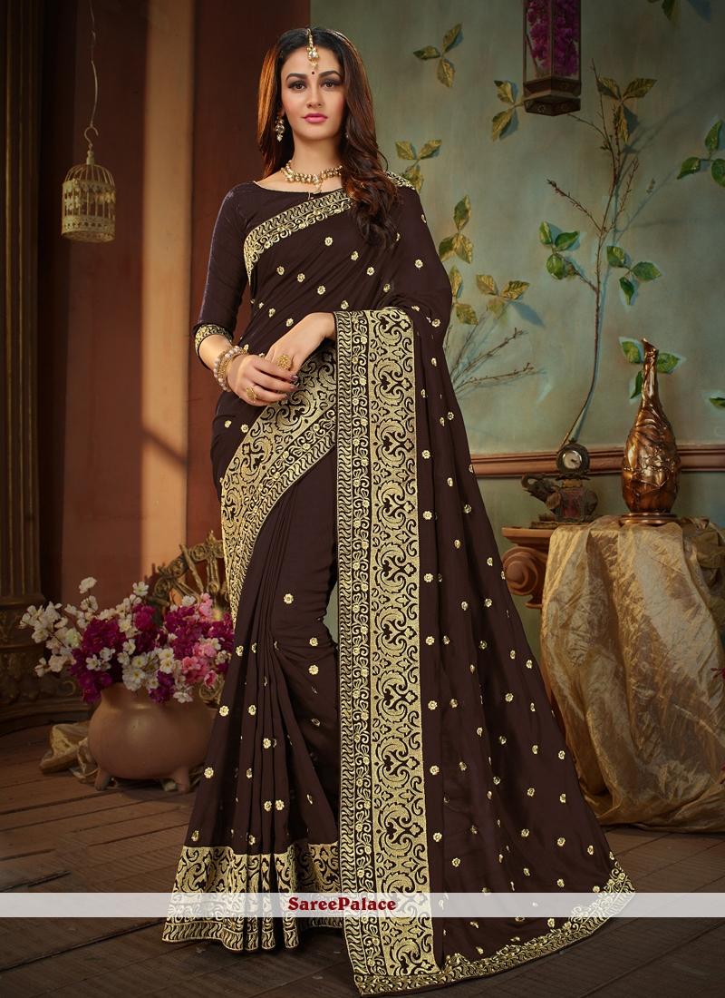 Brown Art Silk Party Designer Traditional Saree