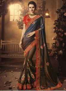 Brown Art Silk Patch Border Traditional Designer Saree