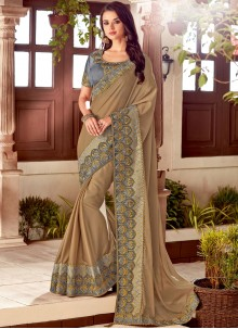Brown Art Silk Traditional Saree