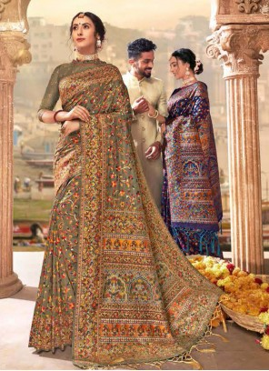 Brown Banarasi Silk Different Style Saree