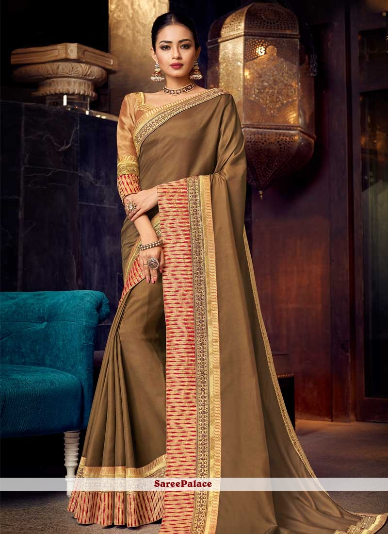 Brown Bridal Faux Georgette Traditional Saree