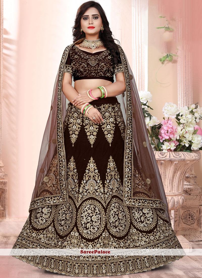 956386b5fe Buy Brown Bridal Lehenga Choli Online