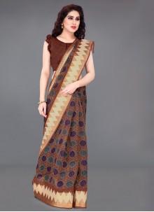 Brown Casual Cotton Printed Saree
