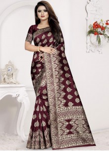 Brown Ceremonial Designer Traditional Saree