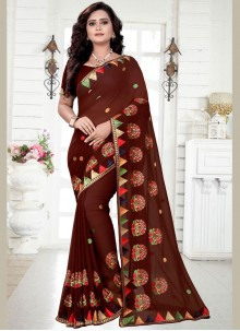 Brown Ceremonial Georgette Classic Saree