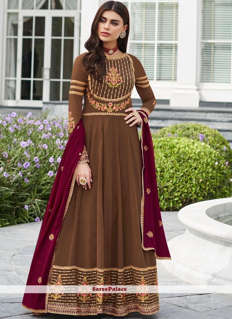Brown Color Floor Length Anarkali Suit