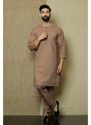 Brown Cotton Engagement Kurta Pyjama