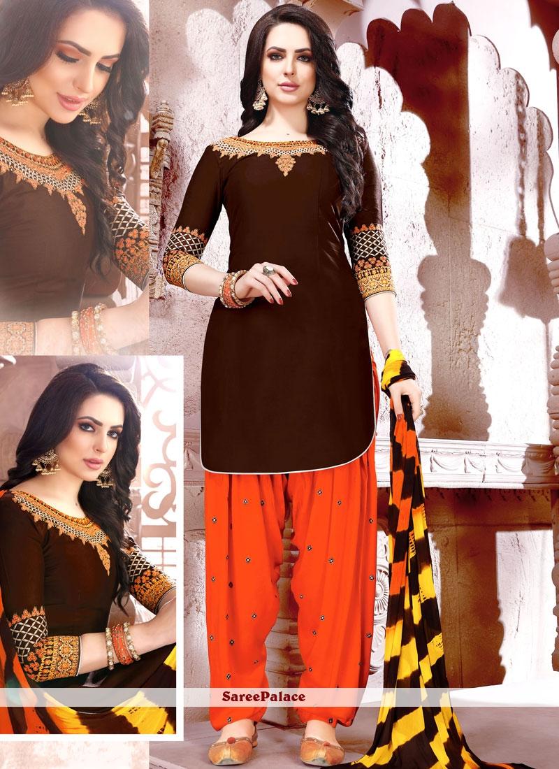 1a171b62331 Buy Brown Cotton Punjabi Suits Online Shopping