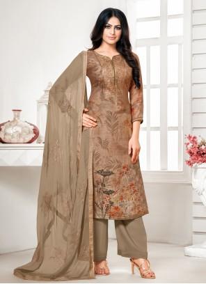 Brown Cotton Silk Festival Designer Palazzo Suit