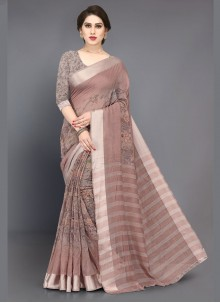 Brown Cotton Silk Saree