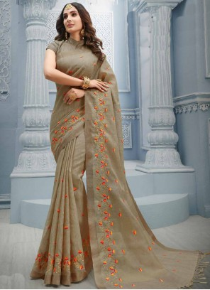 Brown Cotton Traditional Saree