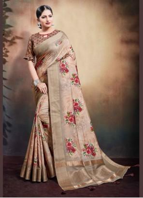 Brown Digital Print Cotton Classic Designer Saree