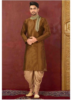 Brown Embroidered Art Dupion Silk Kurta Pyjama