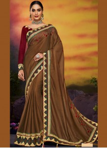 Brown Embroidered Art Silk Traditional Designer Saree