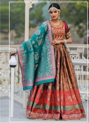 Brown Embroidered Banarasi Silk A Line Lehenga Choli