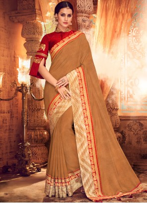 Brown Embroidered Classic Saree