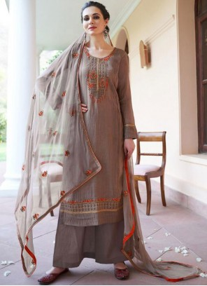 Brown Embroidered Fancy Fabric Designer Pakistani Suit