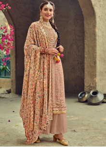 Brown Embroidered Faux Georgette Trendy Salwar Suit
