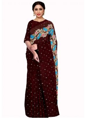 Brown Embroidered Mehndi Saree