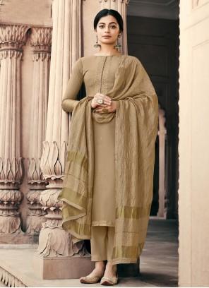 Brown Embroidered Muslin Designer Palazzo Salwar Suit