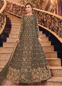 Brown Embroidered Net Designer Salwar Suit