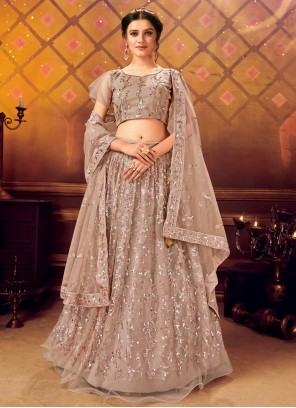 Lavender Embroidered Net Lehenga Choli