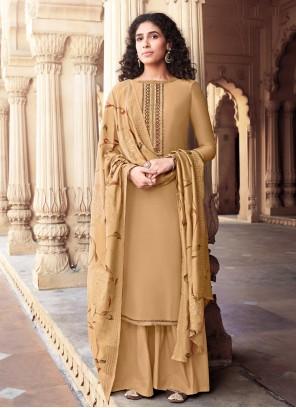 Brown Embroidered Palazzo Designer Salwar Suit
