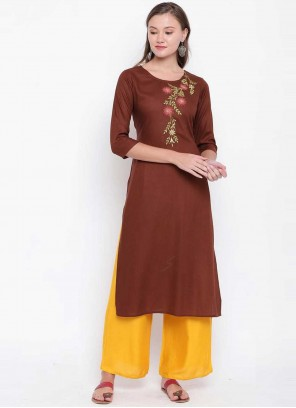 Brown Embroidered Rayon Party Wear Kurti
