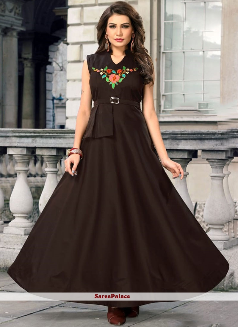 4f903ad782 Buy Brown Embroidered Readymade Gown Online