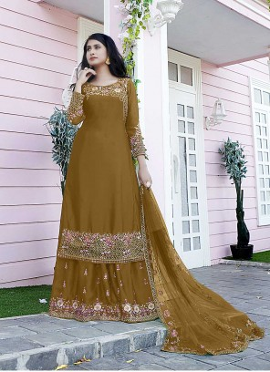 Brown Embroidered Satin Designer Pakistani Suit