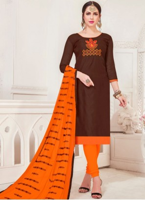 Brown Embroidered Silk Churidar Salwar Suit