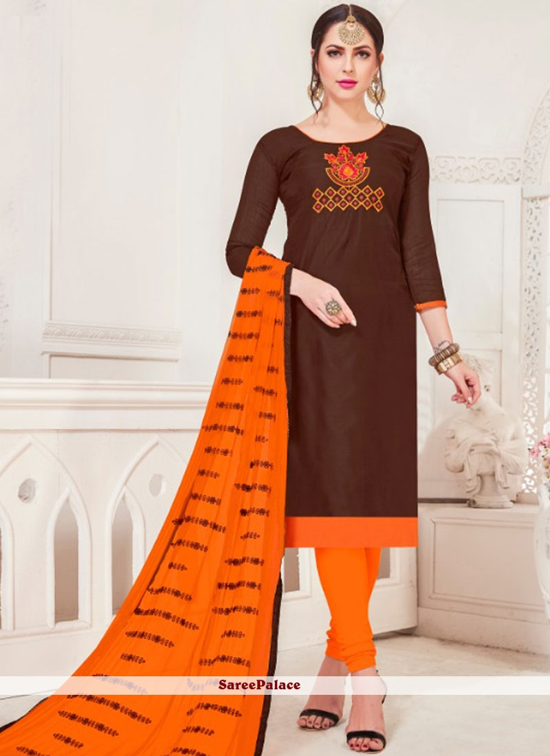 Brown Embroidered Silk Churidar Salwar Suit