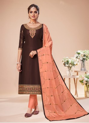 Brown Embroidered Silk Pant Style Suit