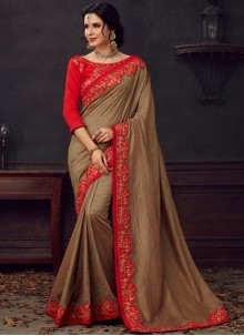 Brown Embroidered Silk Saree