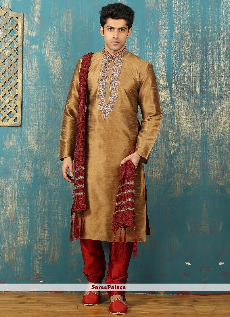 Brown Embroidered Work Art Dupion Silk Kurta Pyjama