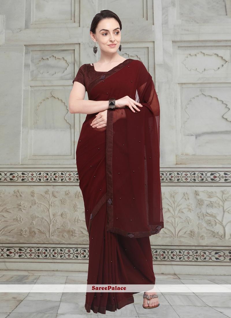 Brown Fancy Fabric Casual Saree
