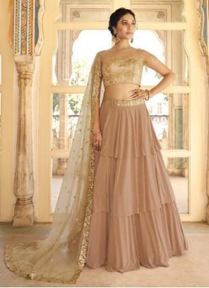 Brown Fancy Fabric Lehenga Choli
