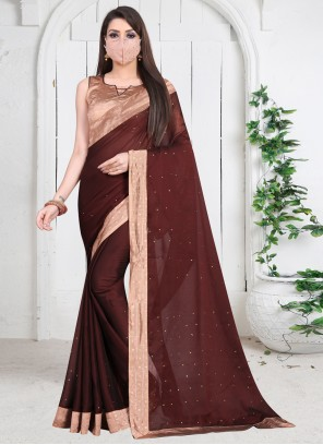 Brown Faux Chiffon Festival Contemporary Saree