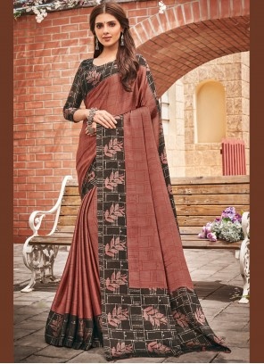 Brown Faux Chiffon Party Bollywood Saree
