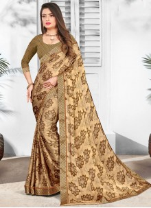 Brown Faux Chiffon Printed Casual Saree