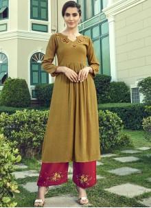 Brown Faux Georgette Designer Palazzo Salwar Suit